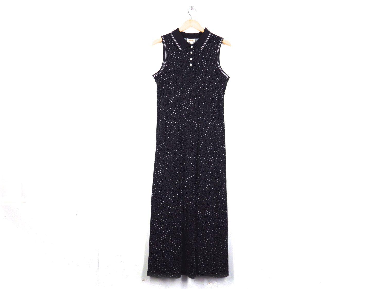 Retro Black and White Sleevless Button up Maxi Dress