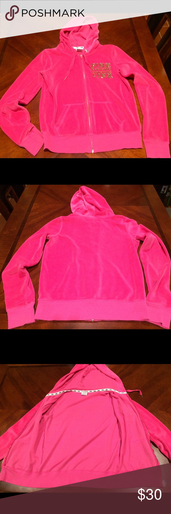 Hot Pink Bling Velour Sweater Used Hot Pink Velour Sweater, Size Small, Pink Logo Bling PINK Victoria's Secret Sweaters