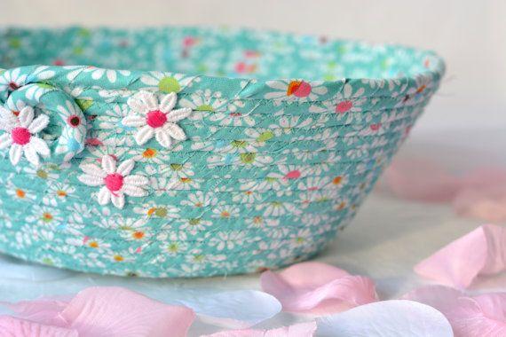 Teal Easter Basket Pretty Aqua Bowl Handmade by WexfordTreasures