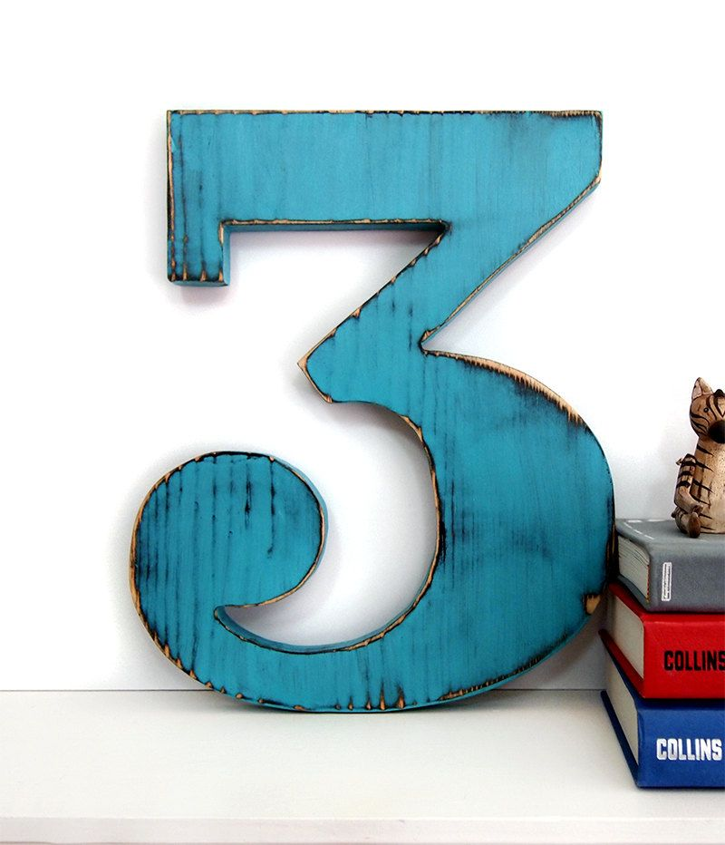 Number 3 rustic pine wood sign wall decor kids birthday for Number 3 decorations