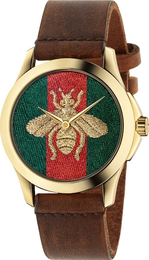 098e09a78ec Gucci YA126451 Women s G Timeless Bee Leather Strap Watch. Challenging the  codes of traditional watchmaking