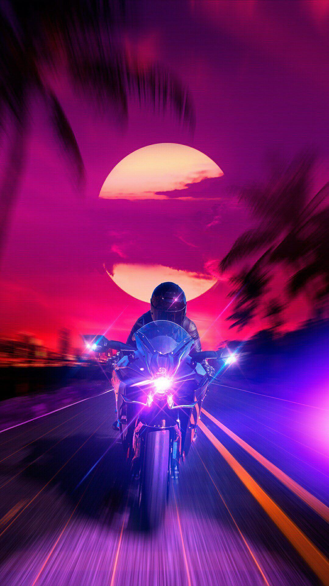 #bike #sunset | Synthwave art, Neon wallpaper, Retro futurism