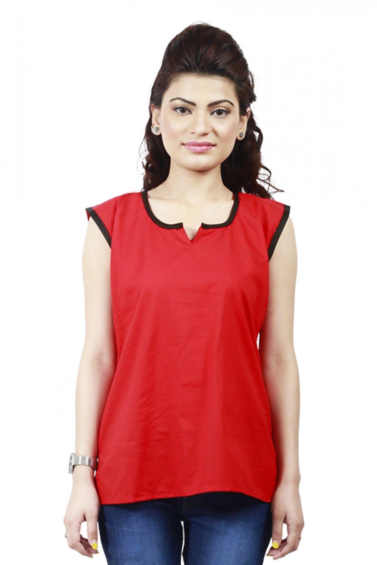 Cotton Valentine Special Designer Western Wear Kurti In Red Colour ...