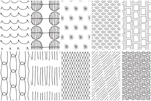 simple line handdrawn patterns by youandigraphics on  creativemarket in 2019