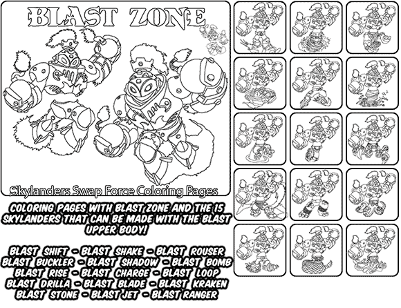 printable coloring page for kids with skylanders swap force blast zone and all the different skylander
