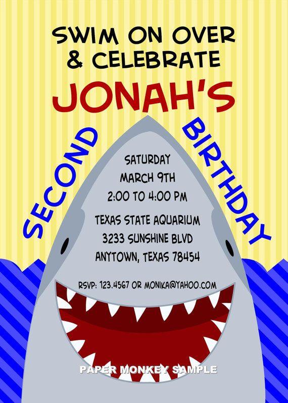 shark birthday party invitations  birthday party invitations, party invitations