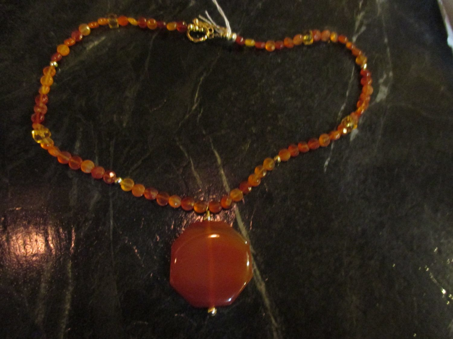Carnelian Pendant w/carnelian and citrine beads 14K gold filled clasp by KnightleyandCompany on Etsy