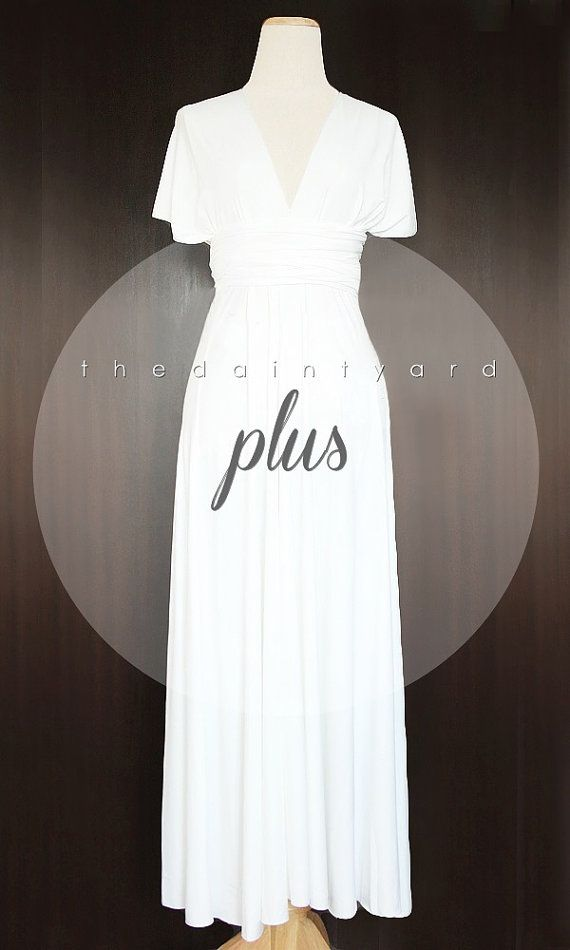b74b9df3b45 MAXI Plus Size White Bridesmaid Dress Convertible by thedaintyard ...