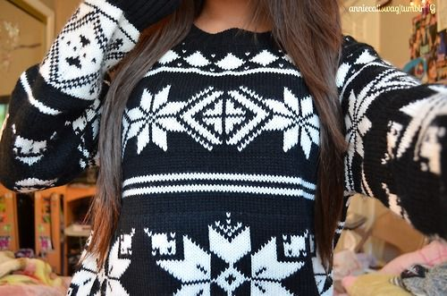wearing winter sweaters AFTER christmas is over.