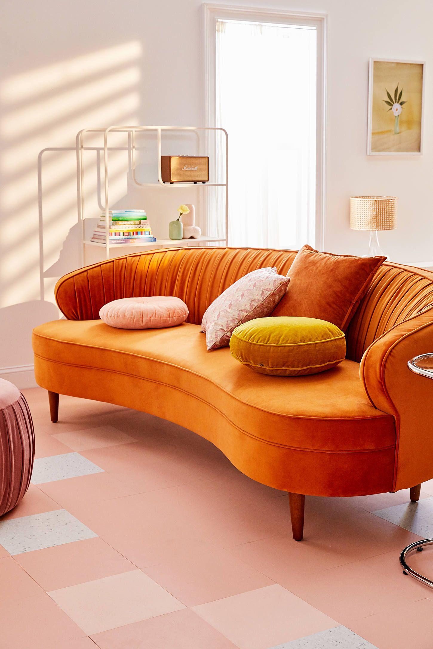Camila Velvet Sofa Spring Furniture Curved Sofa Couches Living Room #orange #sofa #living #room