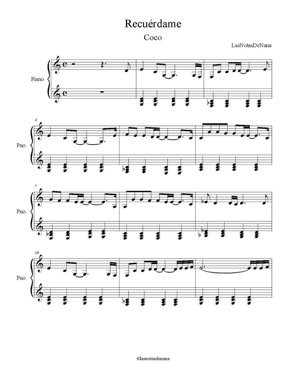 "Partitura para Piano ""Recuérdame""   Coco – Las Notas De Nana – maria cristina fernandez mujeres profesionales"