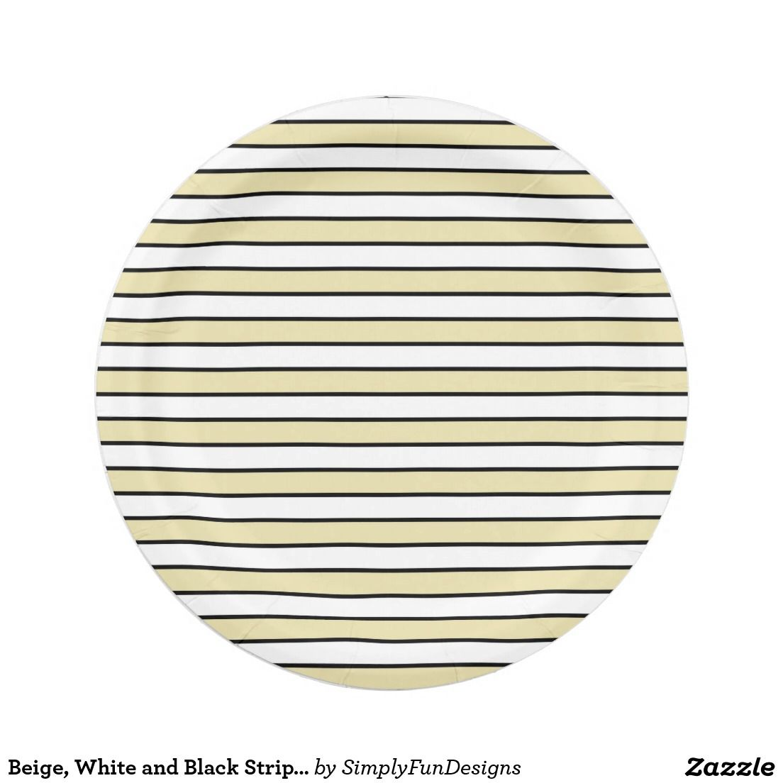 Beige White and Black Stripes Paper Plate  sc 1 st  Pinterest & Beige White and Black Stripes Paper Plate | Zazzle products ...