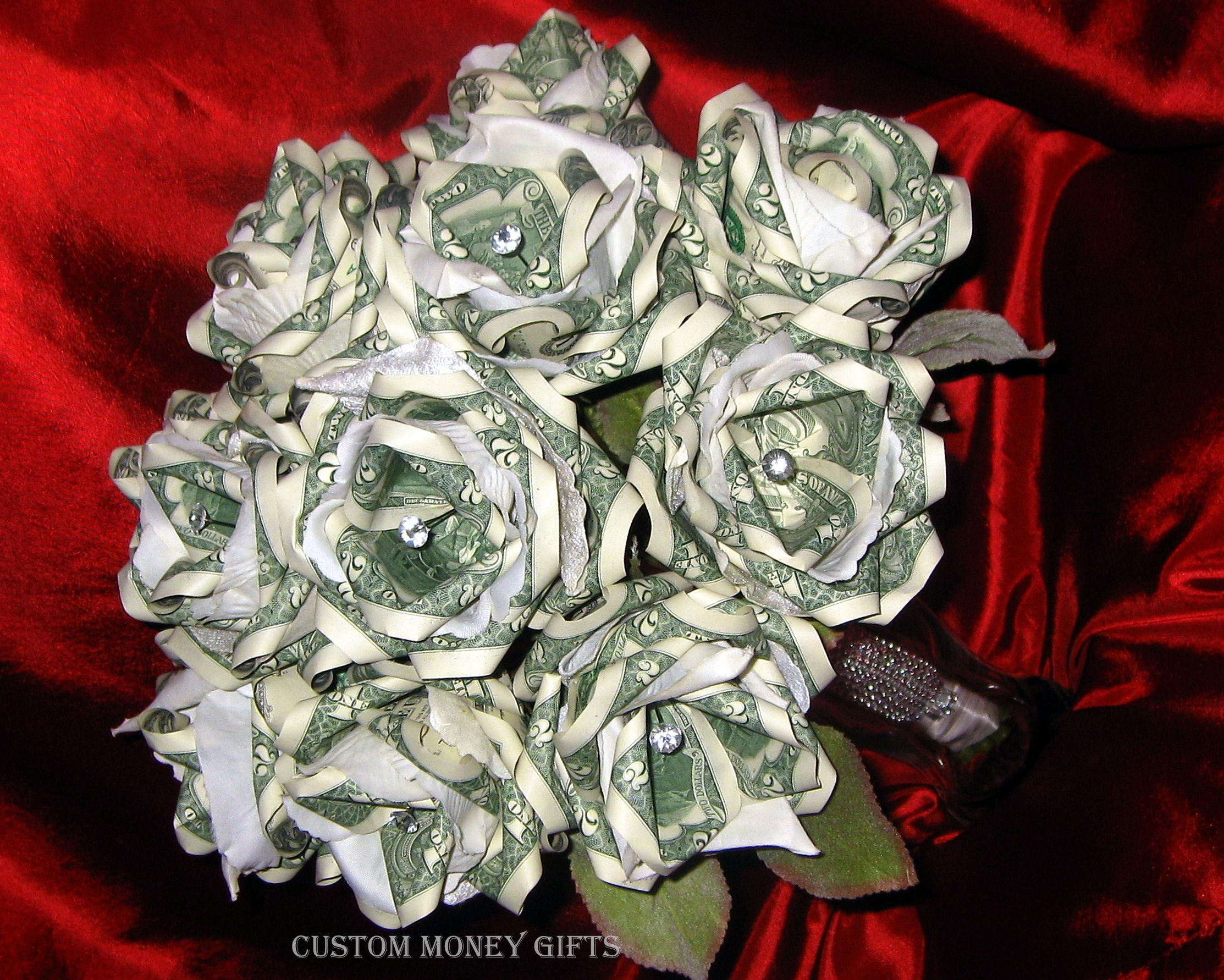 A Lovely Money Rose Bouquet, (made With $1 And $2 Bills