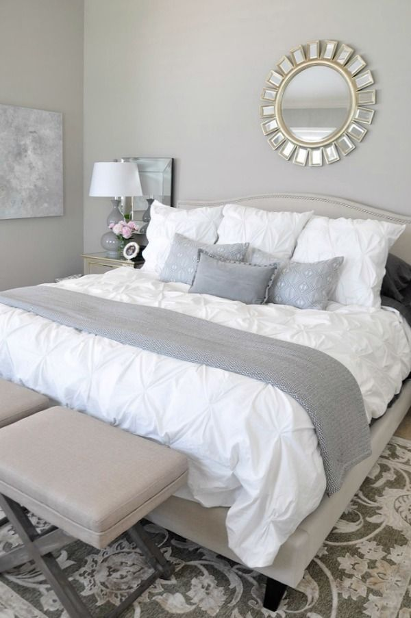 Neutral Master Bedroom White Bedding With Rug Grey Accents Abstract Art
