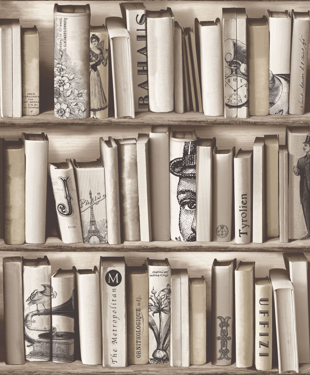 Gentlemens Books Taupe wallpaper by Albany Book