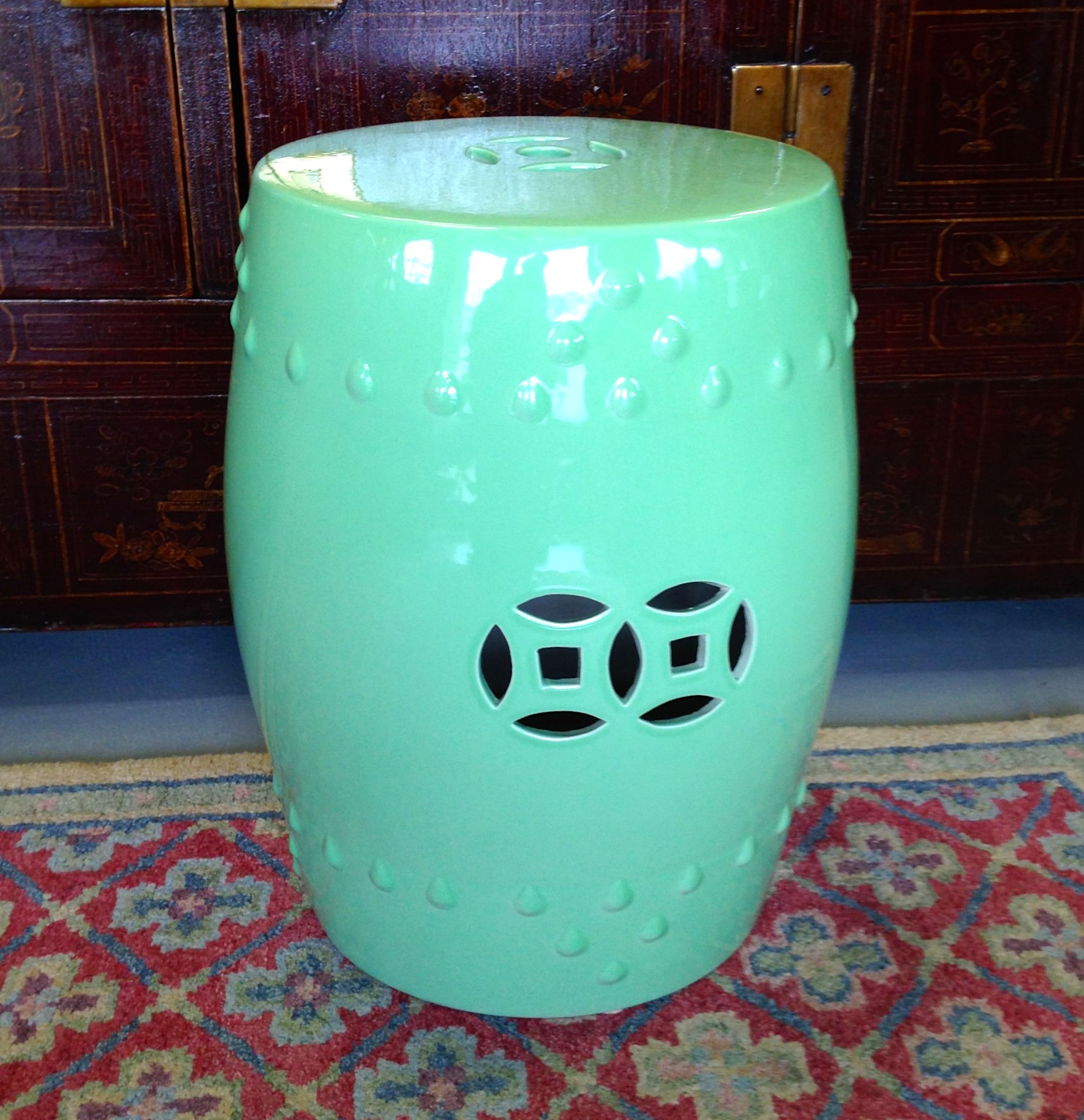 Teal Ceramic Garden Stool
