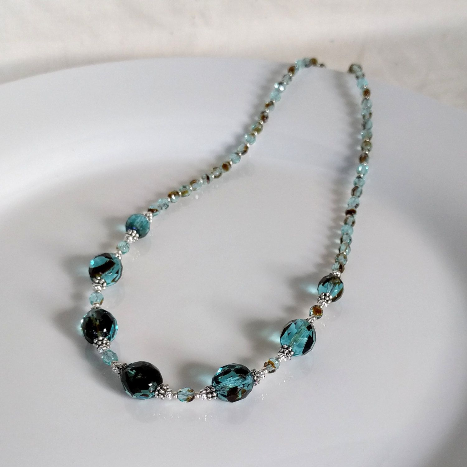 Teal Blue Glass Crystal and Silver Necklace Set, Blue Black and ...