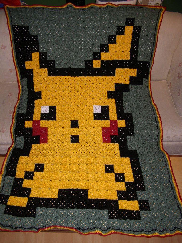 Pikachu Pokemon Pixel Crochet Blanket By Shaunnaf On