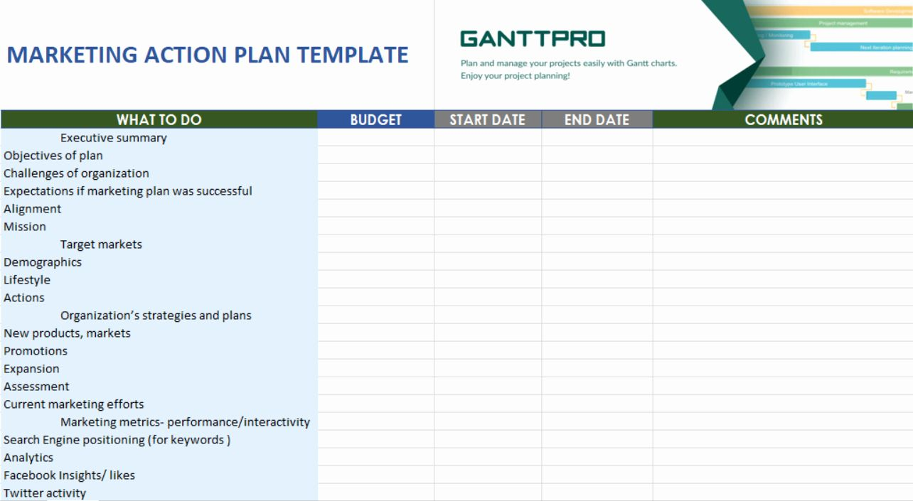 Action Plans Templates Excel Inspirational Marketing