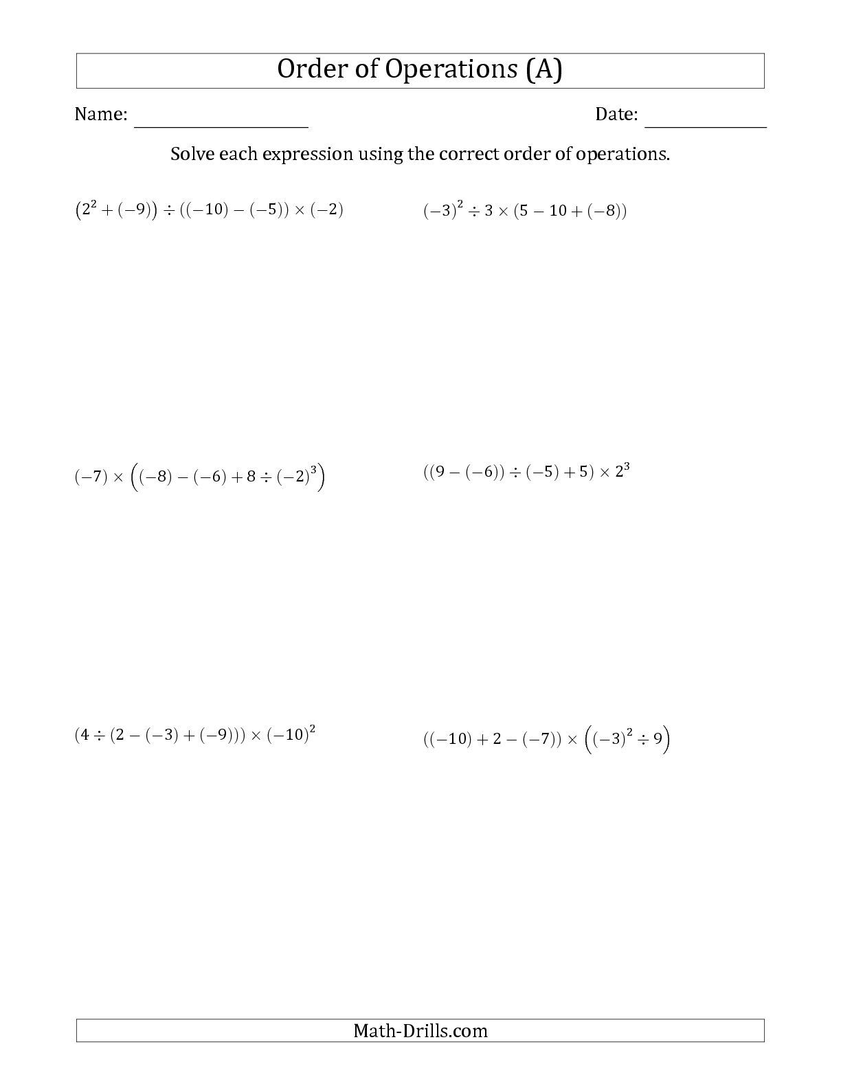 Worksheets Integer Operations Worksheet improved the order of operations with negative and positive integers five steps a math worksheet from pag