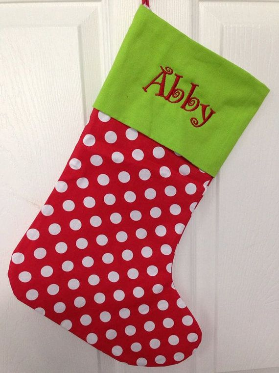 Personalized Polka dot Christmas stocking red white green top ...