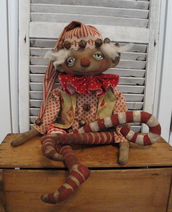 EPATTERN Primitive Folk Art Christmas Elf by thevintagepolkadot ...