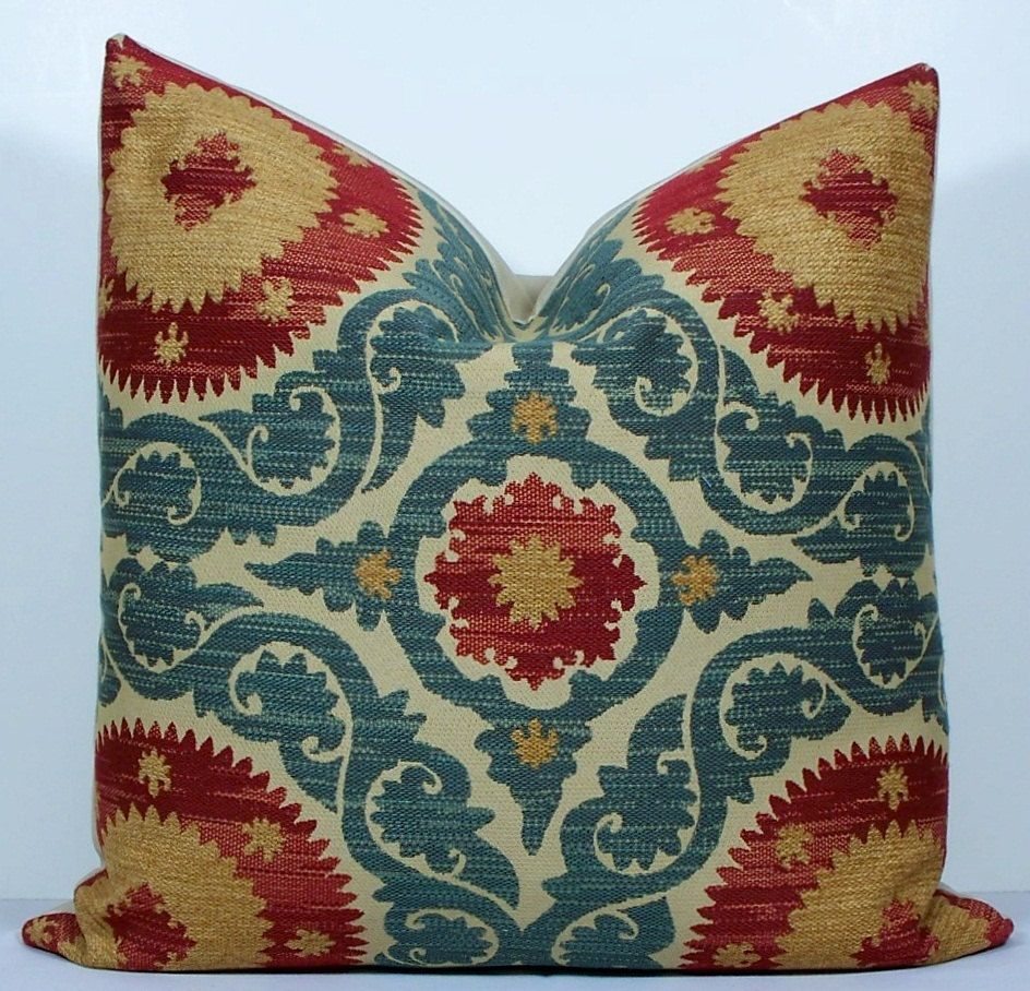 Decorative pillow cover - Suzani - 20x20 - throw pillow - accent pillow - teal blue - red - gold ...