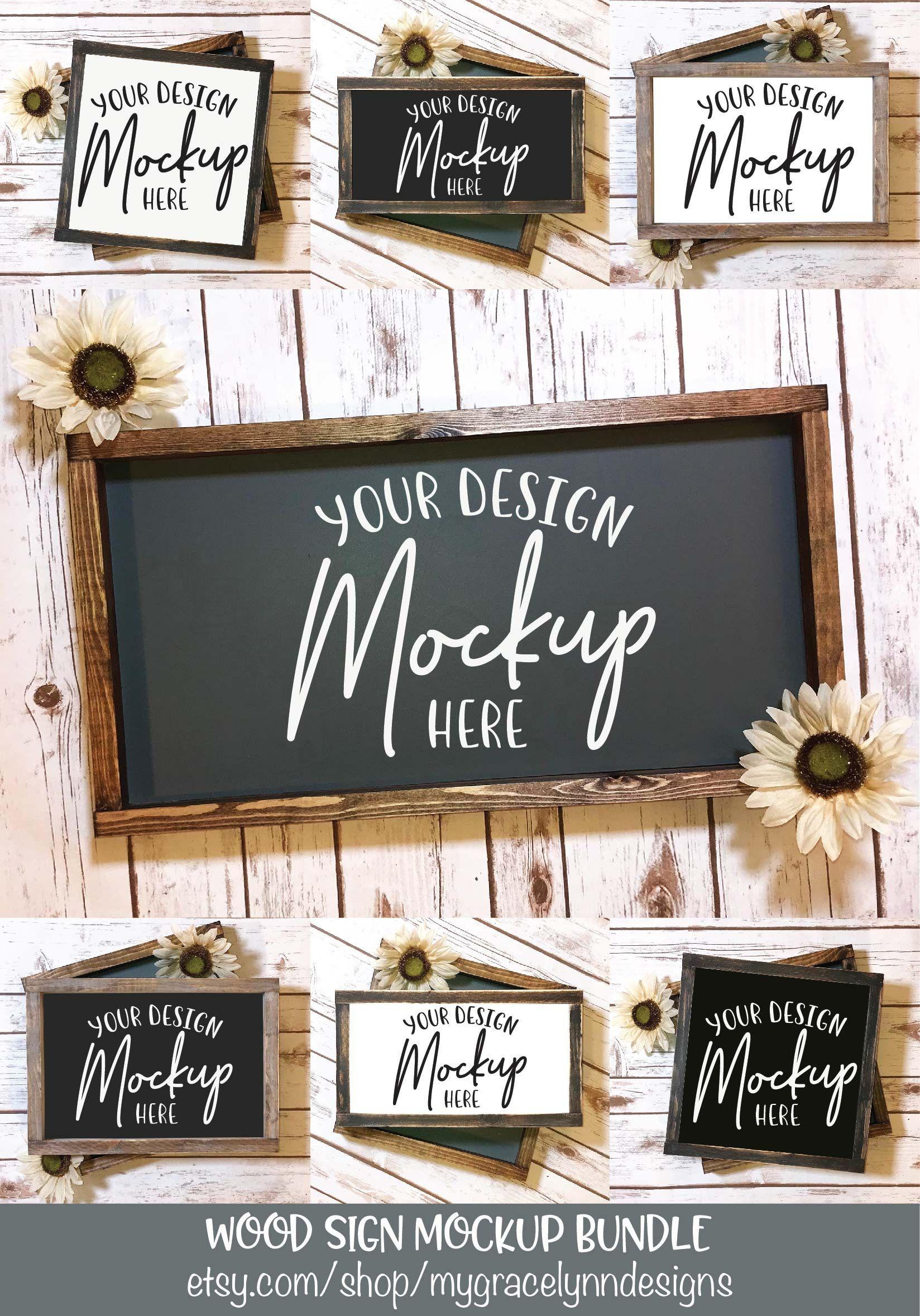 Wood Sign Mockup Bundle Digital Mock Ups 7 Sign Mockups Etsy Sign Mockup Wood Signs Shop Sign Design