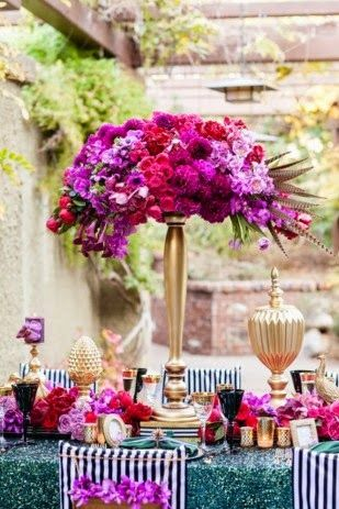 Centros de Mesas para bodas Decoración con Colores Purpura - centros de mesa para bodas