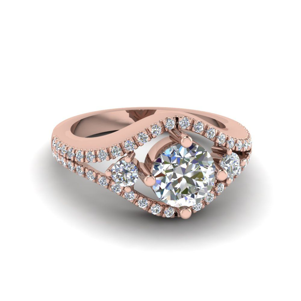 Angara 3 Stone Diamond Engagement Ring with Emerald Side Stone in Rose Gold IWmwu