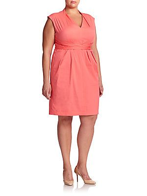 Lafayette 148 New York, Plus Size Corrine Wrap-Tie Dress - Rose Bud -