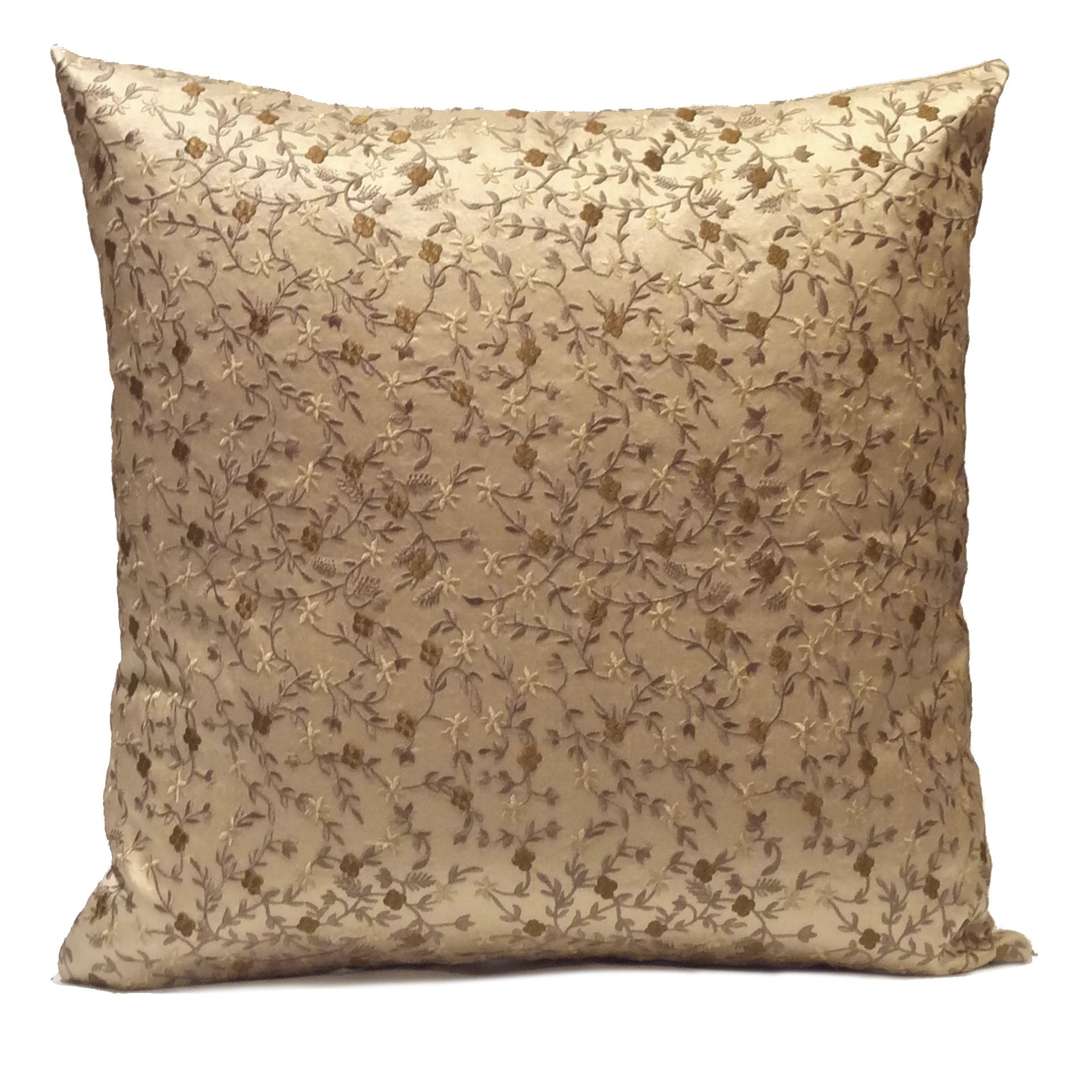 Cream color Silk Pillow Cover with Floral Pattern embroidery