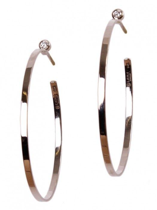 Lana Jewelry Mini Diamond Hoop Earrings in 14K White Gold gHe5A3Q7c