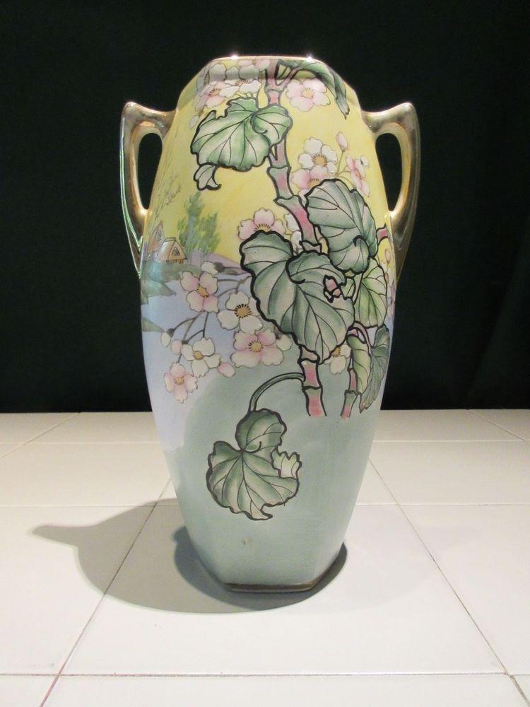 Hand Painted Art Nouveau Royal Nippon Floral Vase Amphora Nippon