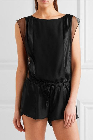 7b309b4d4e Calvin Klein Underwear - Tulle-trimmed Silk-satin Playsuit - Black - small