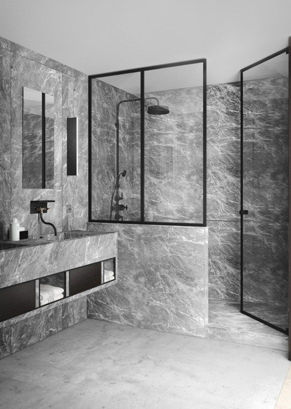 Grey Marble Bathroom With A Floating Vanity Designed By Katty Schiebeck Via Sarahsarna