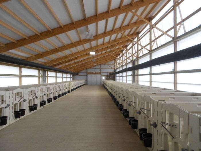 This calf barn is one of four new barns and measures 32 ...