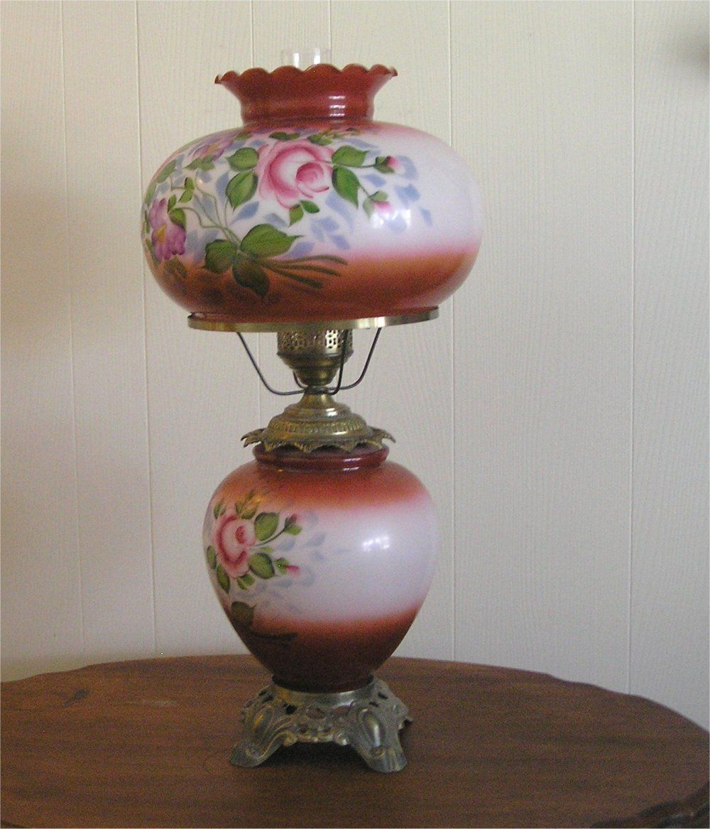 Hurricane lamp shade replacements gone with the wind lamp hurricane lamp shade replacements gone with the wind lamp converted to electric hand painted aloadofball