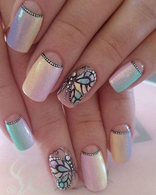 Nail Art 4175 Butterfly Nail Art Nail Art Designs Blue Nails