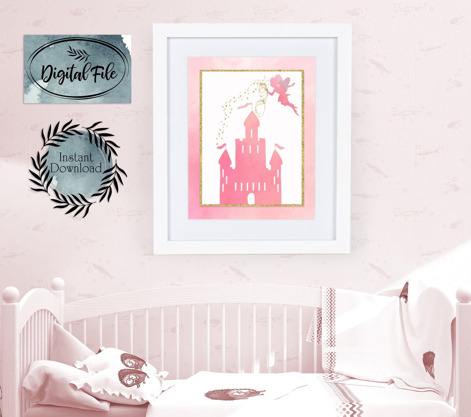disney castleprintablefairy castle artgirls nursery artnursery decorgold glitter pink castlegold glitter fairy artpink watercolor art
