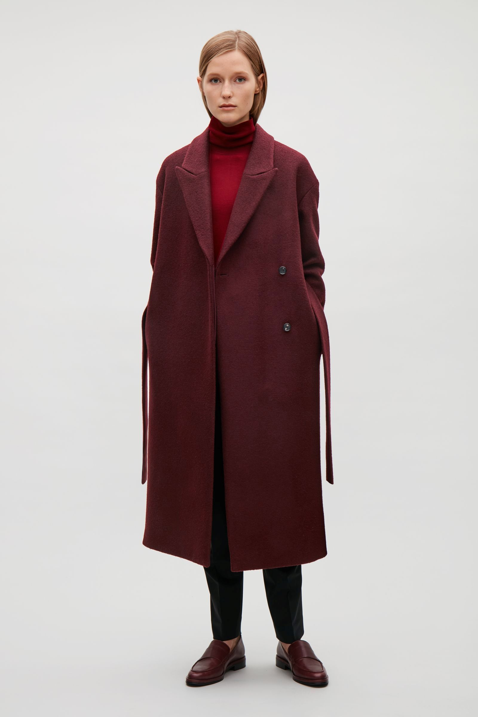 bff263478f COS image 14 of Belted wool coat in Burgundy