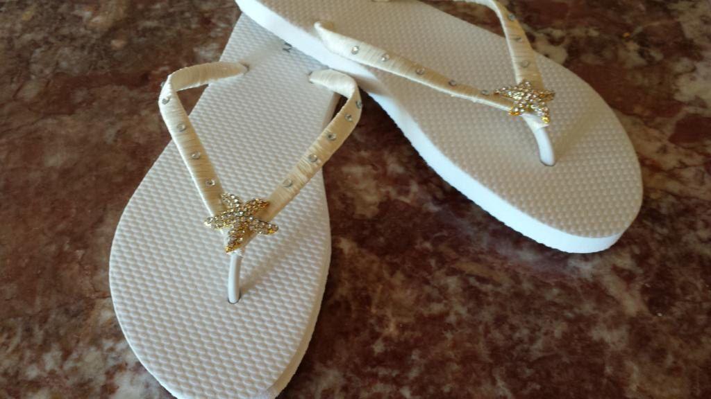 Ivory Starfish Wedding Beach Flip Flops Rhinestone Bride Party