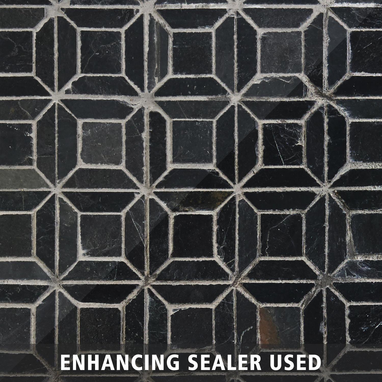 Brushed Squares Slate Mosaic O4w Modern Duplex Mosaic Fireplace Style Tile Black Tiles