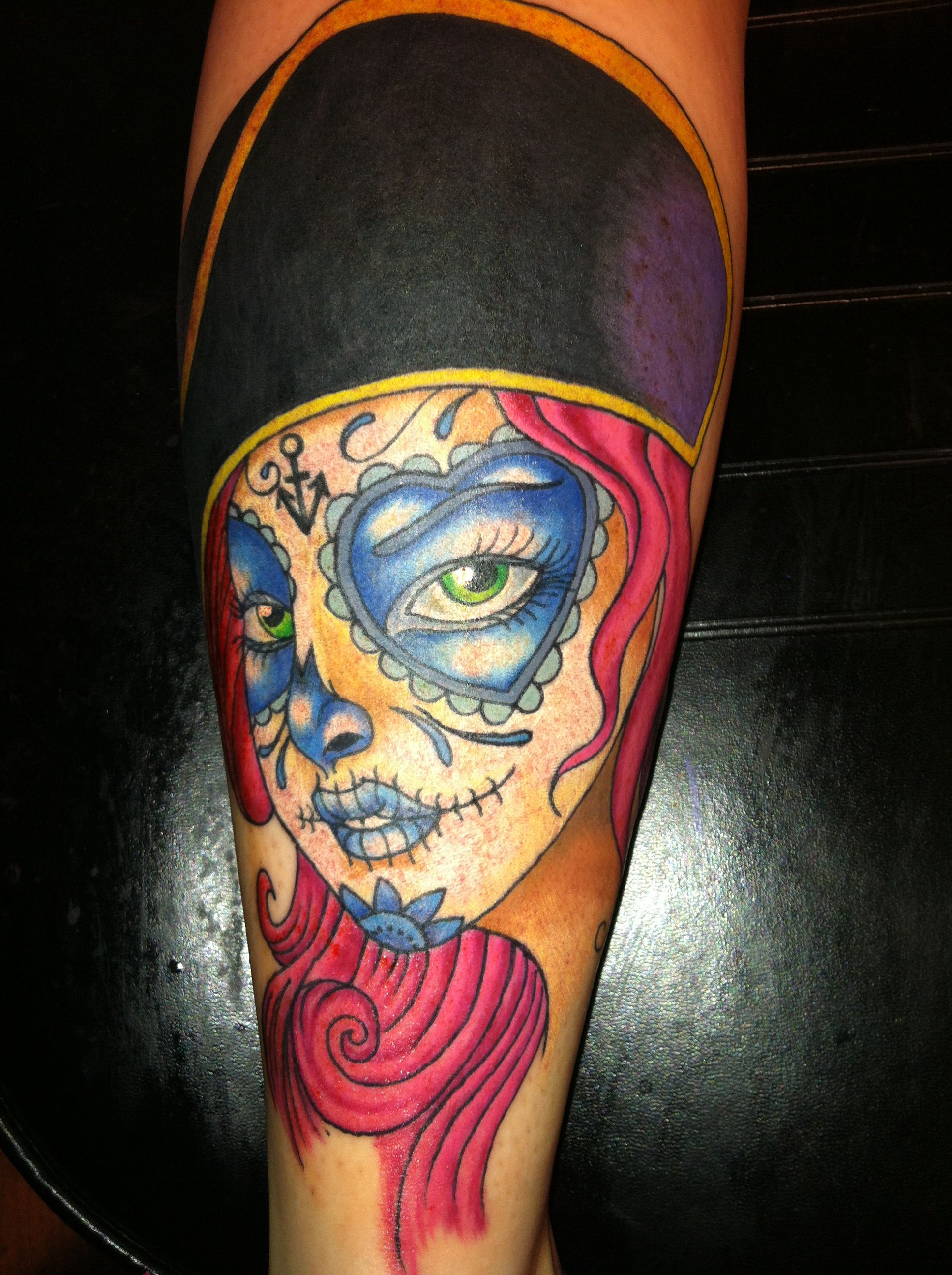 Day of the dead pirate girl tattoo by ricky dotts