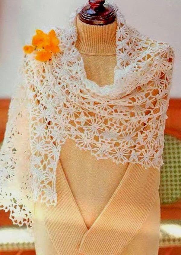 Patrones de chal tejidos al crochet   Modelos de Chaleco   Pinterest ...