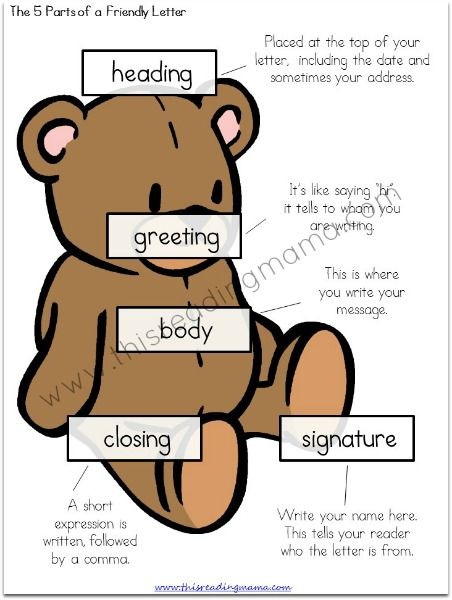 writing a friendly letter for kids