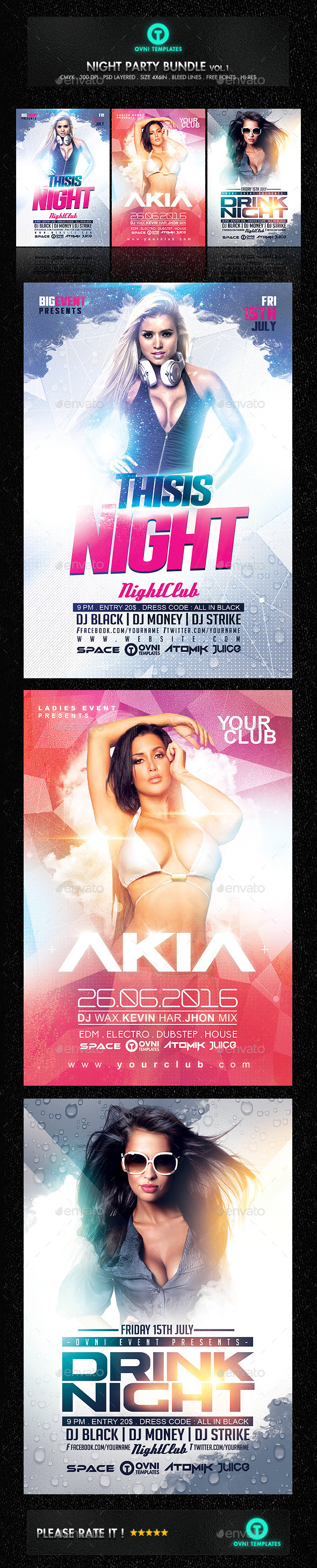 Party Night Sexy Girls Flyer Bundle Template #design Download: http://graphicriver.net/item/party-night-sexy-girls-flyer-bundle/12471842?ref=ksioks