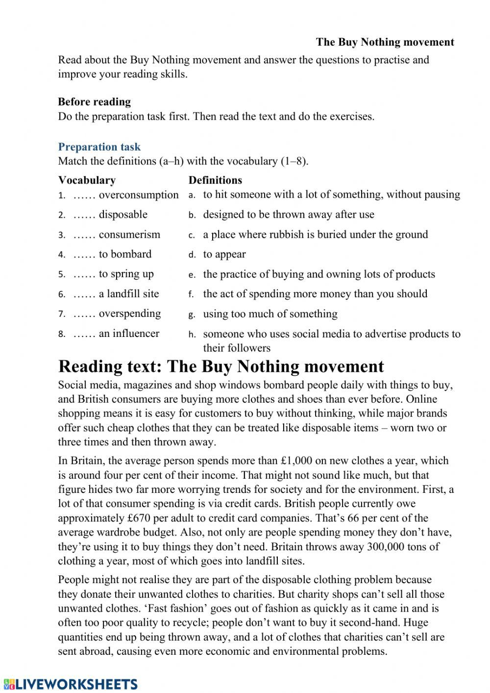 Nature And Environment Interactive Worksheet Vocabulary Definitions Reading Comprehension Worksheets [ 1413 x 1000 Pixel ]