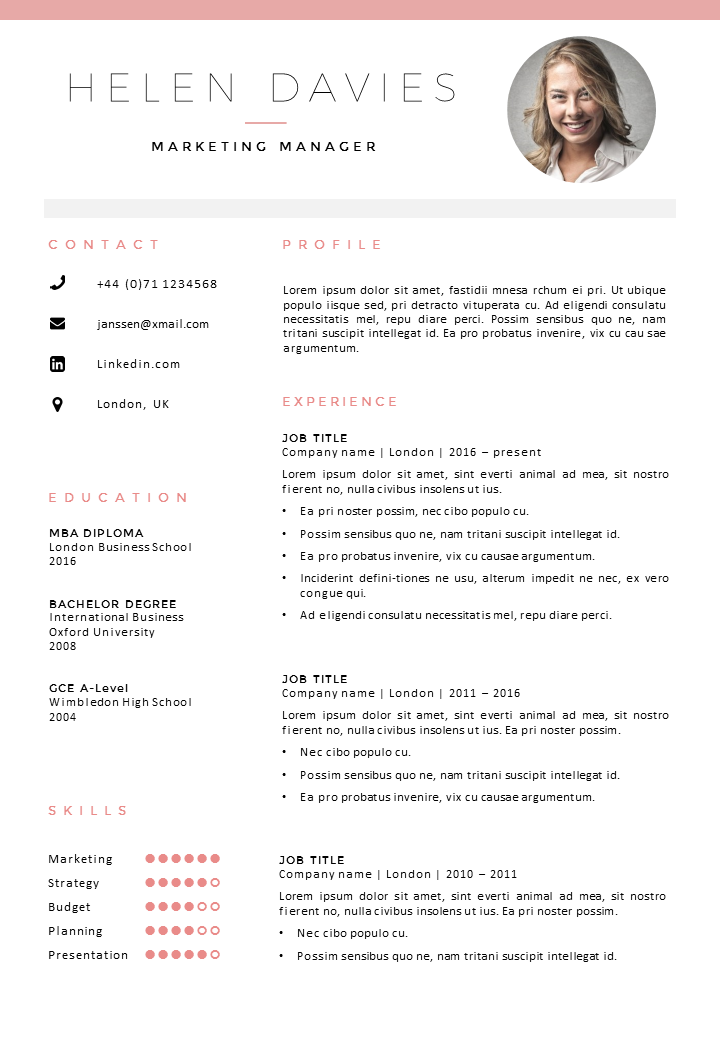 Fully editable resume / cv template in MS Word, 2 page