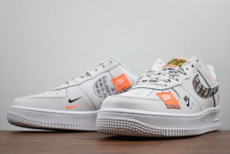 2018 Nike Air Force 1 07 Premium Just Do It White Black Total